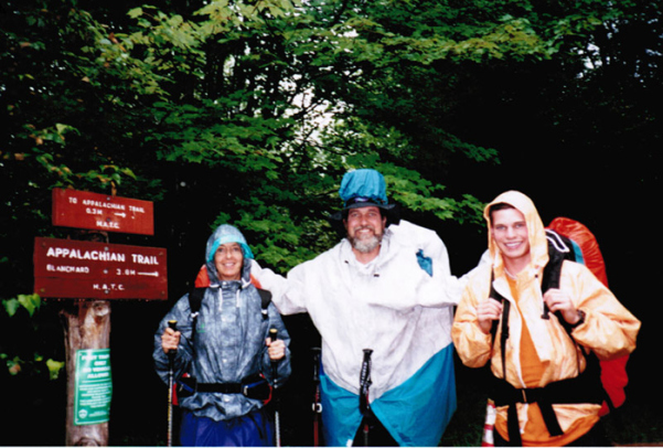 Gail, Porter, and Philip on the Applachian Trail