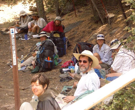 Gail and Porter with other hikers on the PCT, California