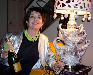 Gail with champagne