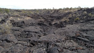 P hiked miles across lava fields