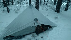 Porter's tarp in snow